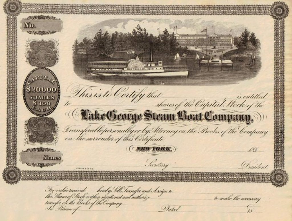 Stock Certificate for the Lake George Steamboat Company