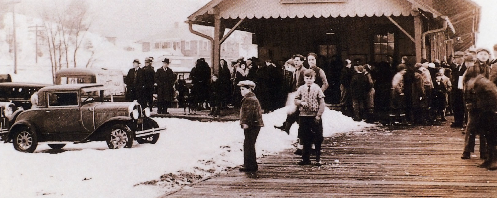 Historical photo of kid playing in snow in Warren County NY