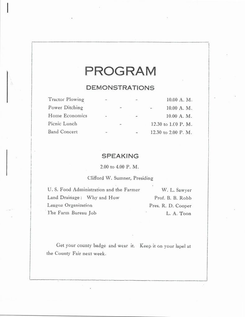 Tri-County Farmers' Day, August 24, 1918 Program Schedule