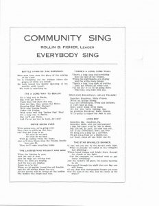 Tri-County Farmers' Day, August 24, 1918 Community Sing Program