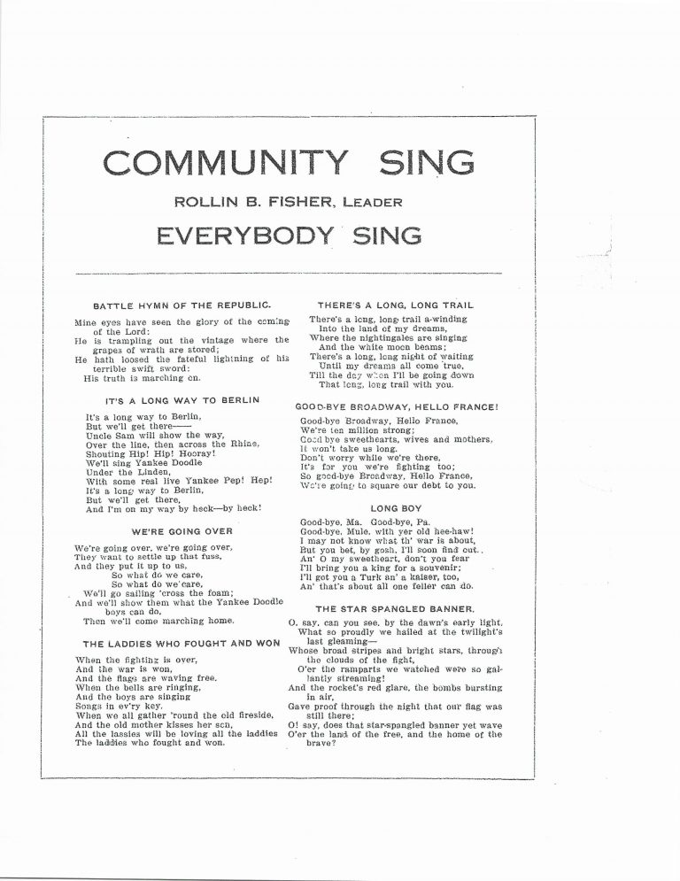 Tri-County Farmers' Day, August 24, 1918 Community Sing page