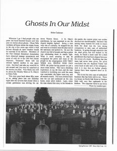 "Glens Falls Today clipping from 1987, ""Ghosts In Our Midst"" article by Helen Cackener"