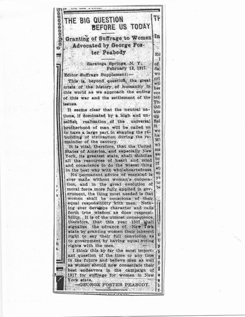 Peabody's comments on granting of suffrage to women on Suffrage